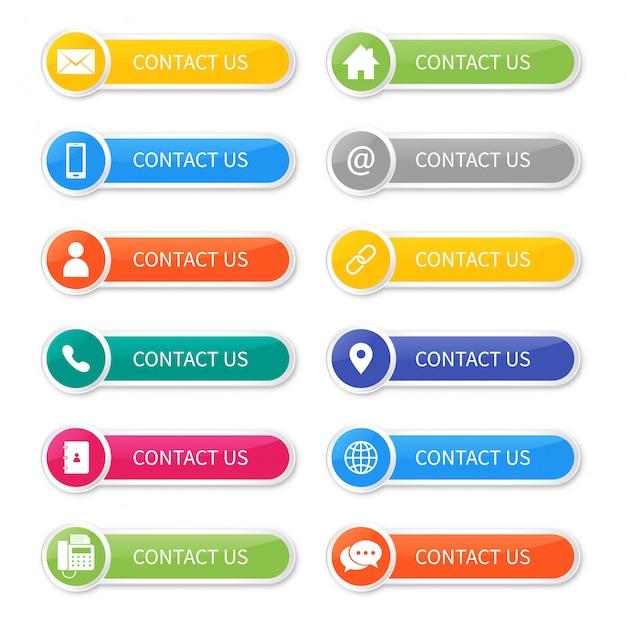 Stel pictogrammen van contact met ons op knop geïsoleerd. Premium Vector