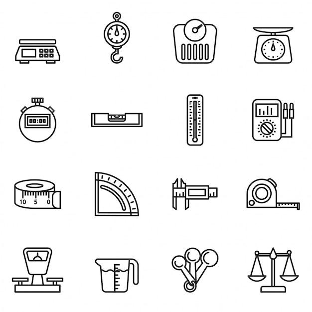 Stel pictogrammen van geïsoleerde meetinstrumenten Premium Vector