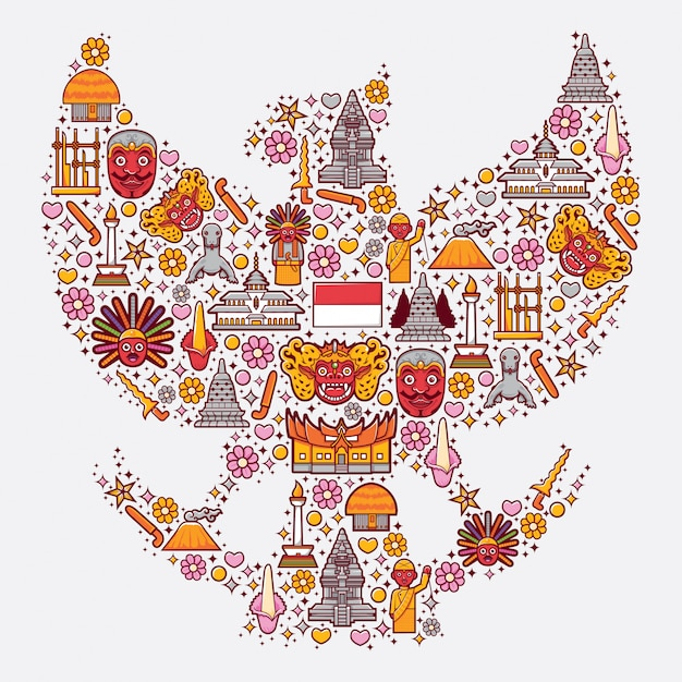 Stel pictogrammen van indonesië in de vorm van garuda Premium Vector