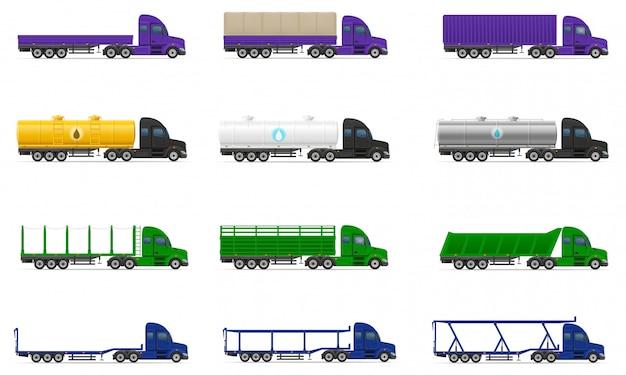 Stel pictogrammen vrachtwagens opleggers vectorillustratie Premium Vector