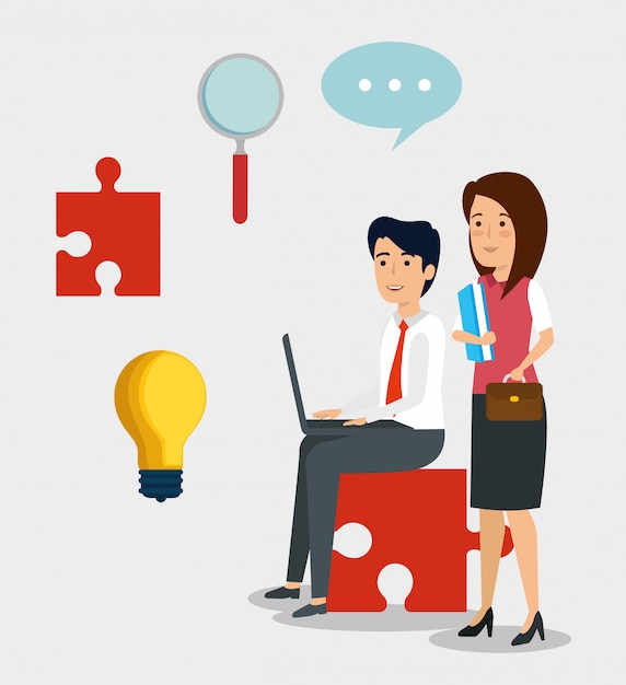 Stel professionele ondernemers met lamp idee en document Gratis Vector
