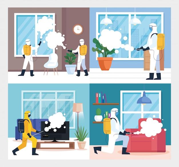 Stel scènes in, desinfectie thuis door commerciële desinfectieservice, desinfectiemedewerkers met beschermend pak en spray voorkomen covid 19 Premium Vector