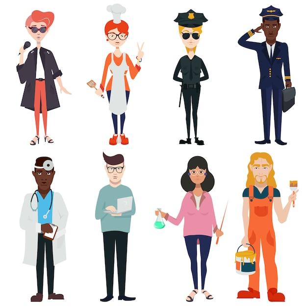 Stel schattige, mooie mensen van verschillende beroepen, nationaliteiten en geslacht in. zangers, piloten, politieagenten, artsen, leraren, koks Premium Vector