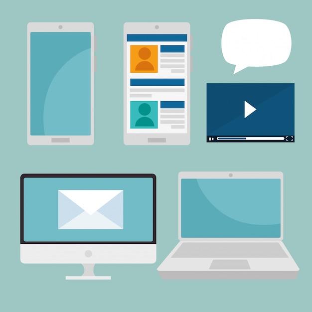 Stel smartphone met computer en laptop sociale technologie in Gratis Vector