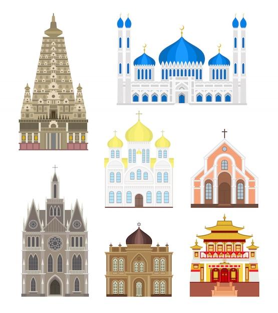 Stel steden in midden beroemde gebouwen reizen architectuur landmark vector. Premium Vector