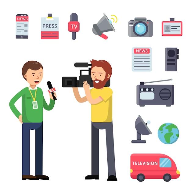 Stel thematische symbolen in voor uitzenden en interviewen Premium Vector
