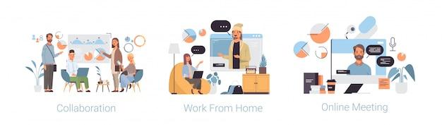 Stel thuiswerk samen online vergadering coronavirus pandemie quarantaine concepten collectie Premium Vector