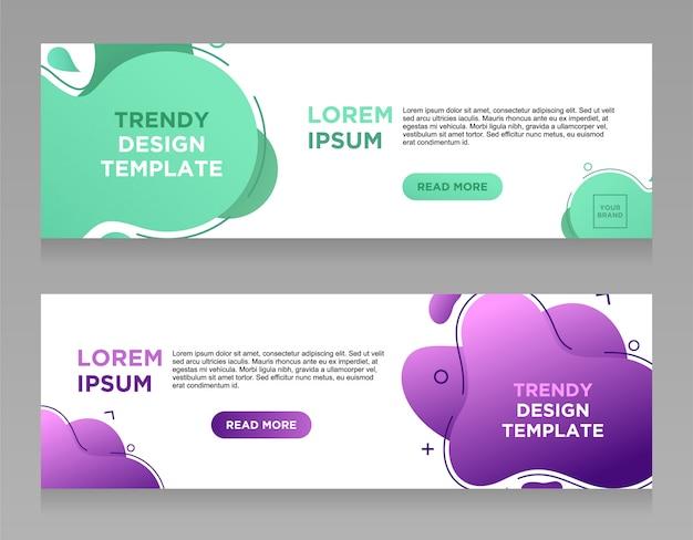 Stel vector abstracte vloeibare kleur ontwerp banner websjabloon. Premium Vector