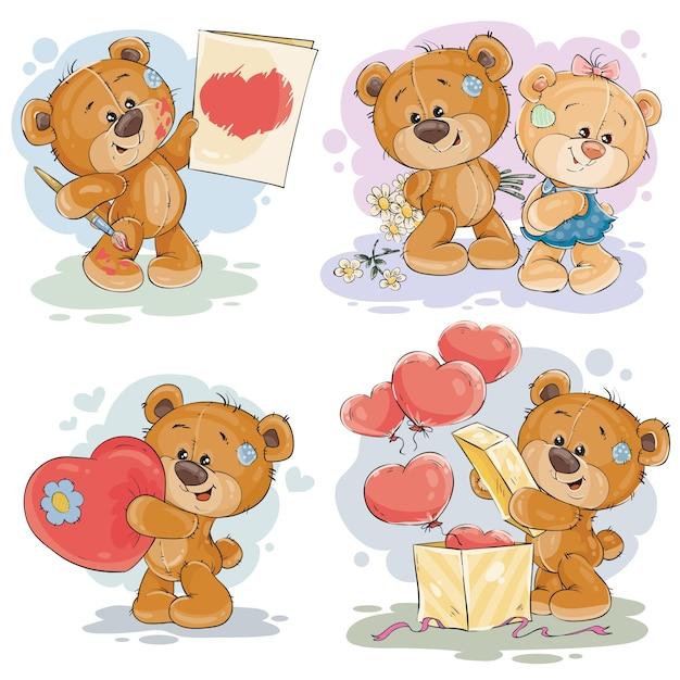 Stel vector clip art illustraties van teddyberen Gratis Vector