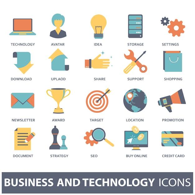 Stel vector iconen voor mobiele concepten en web-apps Premium Vector