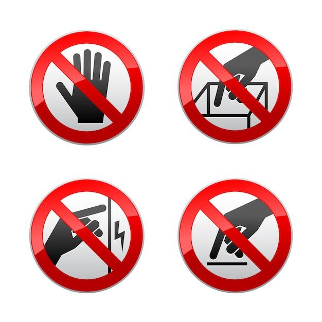 Stel verboden tekens in - niet aanraken Premium Vector