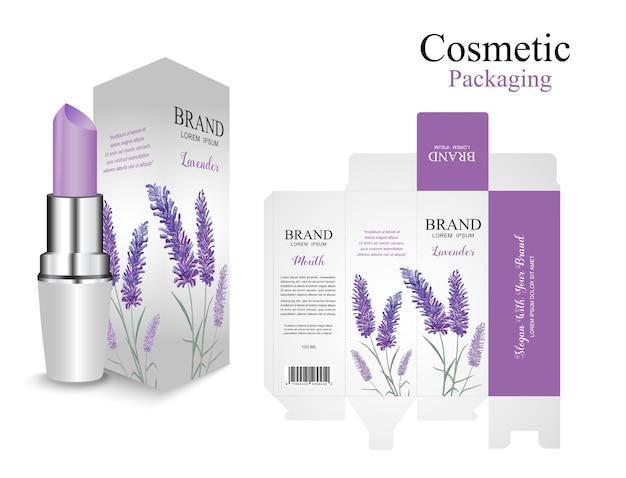 Stel verpakking lippenstift ontwerp. lavendel paarse cosmetica. bloem aquarel verf. Premium Vector