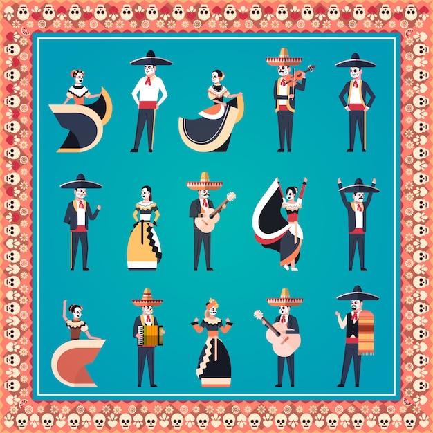 Stel verschillende mensen dag van dode traditionele mexicaanse halloween banner Premium Vector