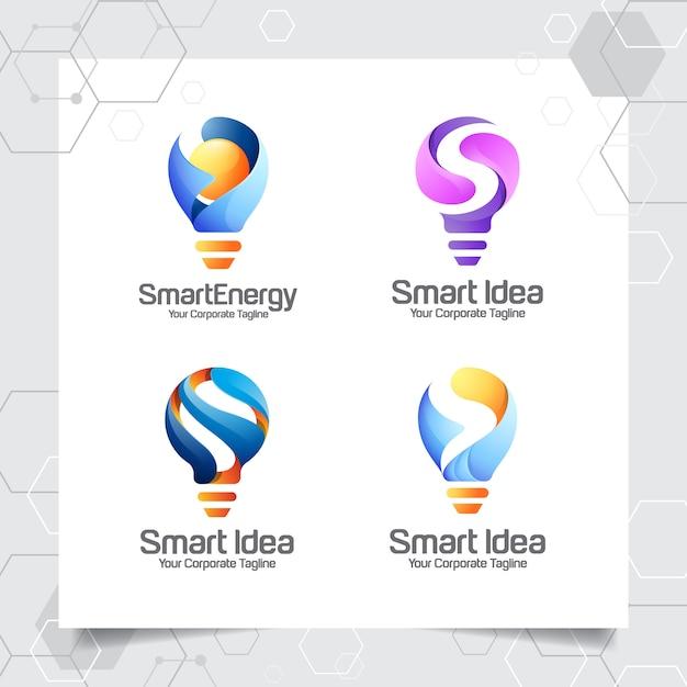 Stel verzameling bulb-logo sjabloon slim idee ontwerp van de letter s Premium Vector