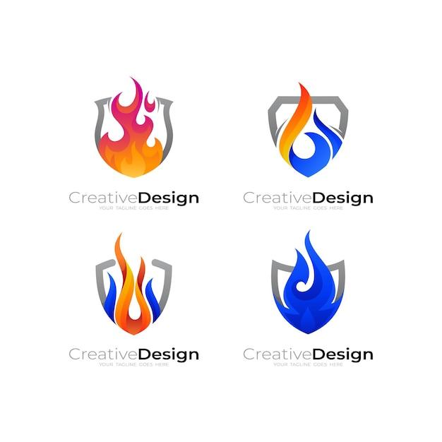 Stel vuurlogo en schildontwerpcombinatie in, flame-logo illustratie Premium Vector