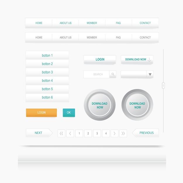 Stel webelementen in. site navigatie menu knop. ontwerpsjabloon Premium Vector