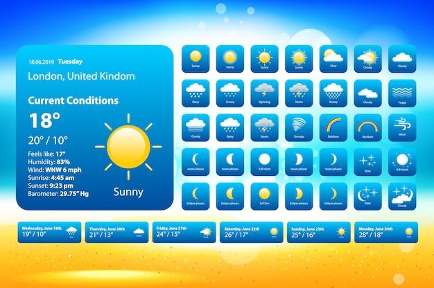 Stel weerpictogrammen in Premium Vector