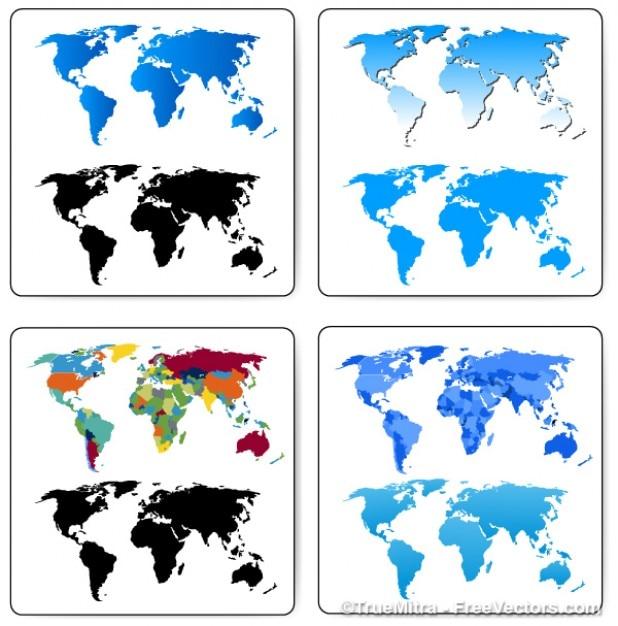 Stel wereldkaarten cartografie bedrijf banner wereldwijd blauw zwart Gratis Vector