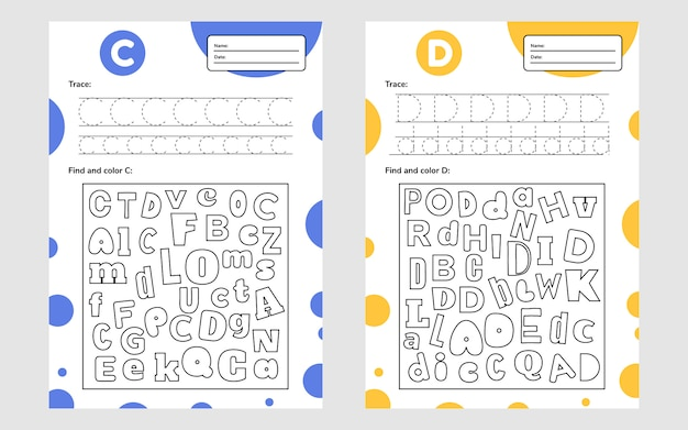 Stel werkbrief-werkblad a4 in voor voorschoolse en schoolgaande kinderen. spel voor kinderen. zoek en kleur. Premium Vector