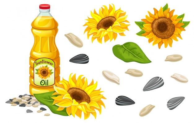 Stel zonnebloemolie, bloemen, zaden en blad in. Premium Vector