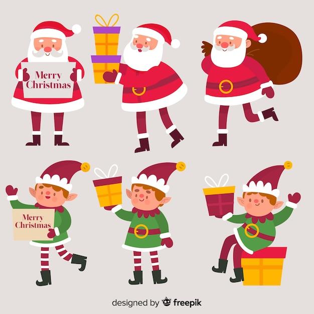 Stellende kerstmisinzameling van de kerstman en van de elf Gratis Vector
