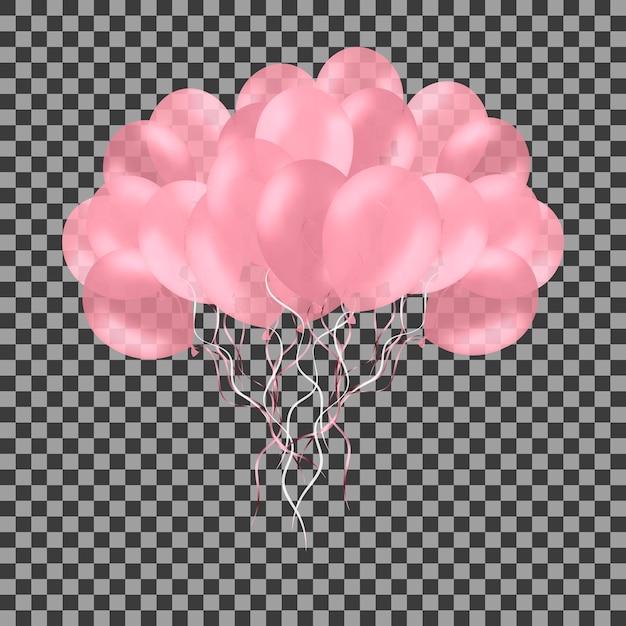 Stelletje kleurrijke roze roos helium ballonnen geïsoleerd op transparant. Premium Vector