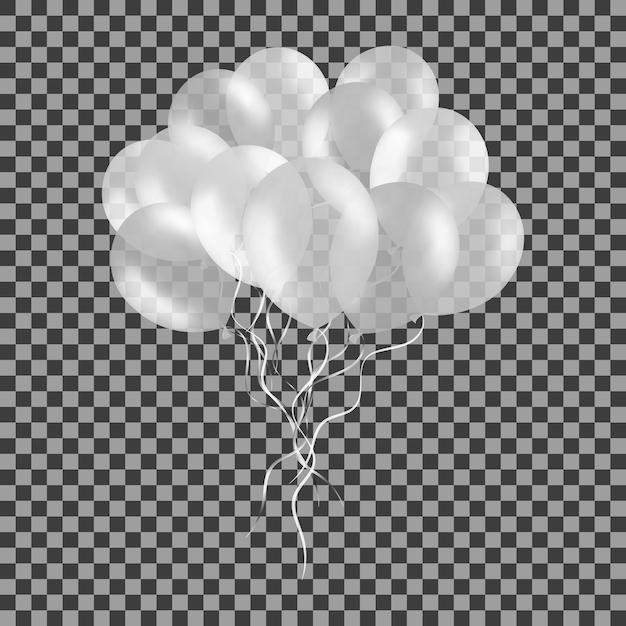 Stelletje witte helium ballonnen geïsoleerd op transparant. Premium Vector