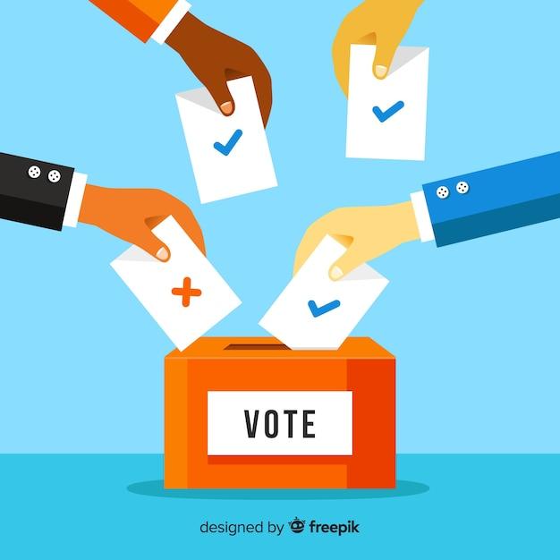 Stem- en verkiezingsconcept met doos Gratis Vector