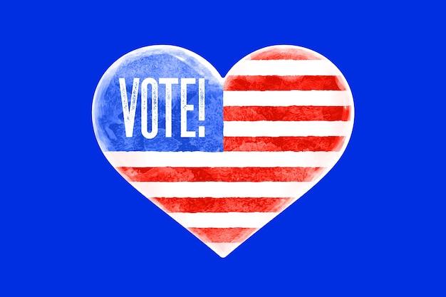 Stem, vs. poster met hartvorm, tekst stem, vlag van de verenigde staten van amerika. stem, rood en blauw hartsymbool op witte achtergrond. hart met amerikaanse vlag. Premium Vector