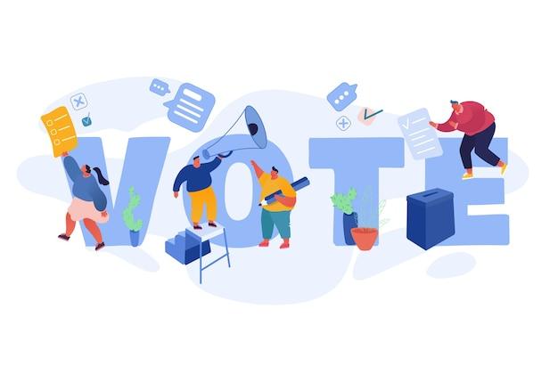 Stemmen en verkiezingen conceptontwerp sjabloon. voorverkiezingscampagne. promotie van kandidaat-personages van mensen. burgers debatteren, stemmen op papier in bij de kandidaten in de stembus. Premium Vector