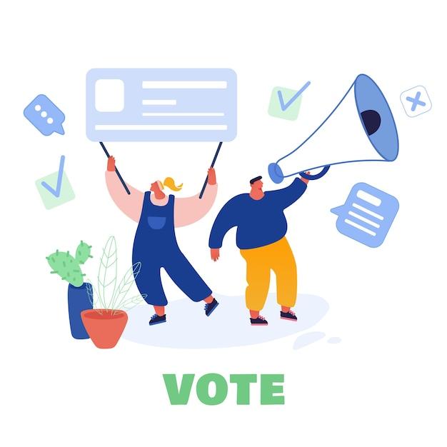 Stemmen en verkiezingen conceptontwerp sjabloon. voorverkiezingscampagne. promotie van kandidaat-personages van mensen. burgers stemmen op papier in bij de kandidaten van de stembus. Premium Vector