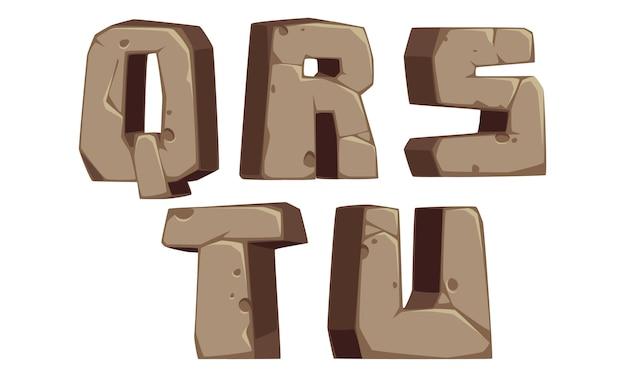 Stenen alfabetten q, r, s, t, u Premium Vector