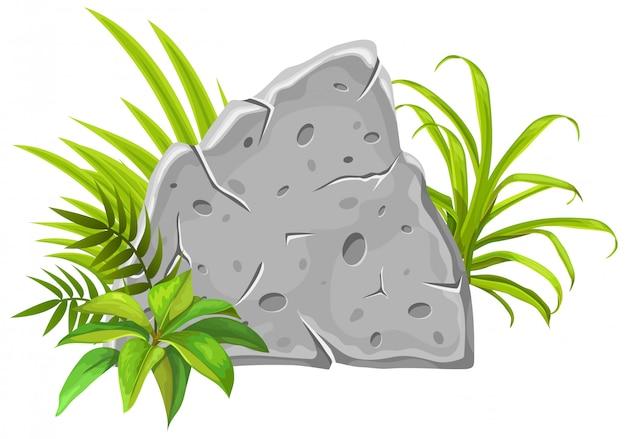Stenen bord decoratie tropische bladeren en gras. Premium Vector