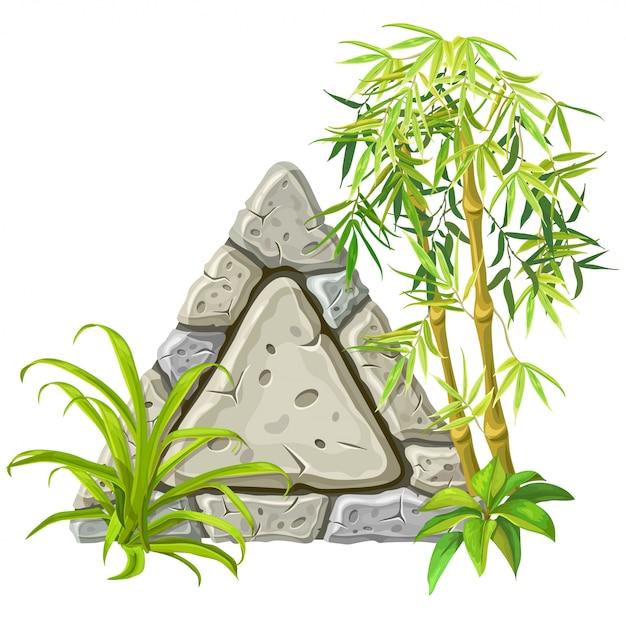 Stenen bord met bamboe takken Gratis Vector