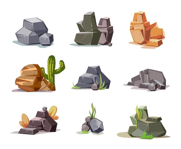 Stenen en aardrotsen die met beeldverhaal groen gras worden geplaatst Premium Vector