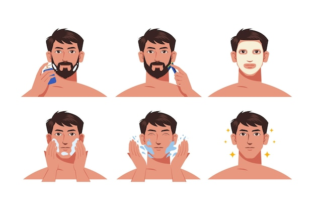 Steps of men skincare routine collectie Gratis Vector
