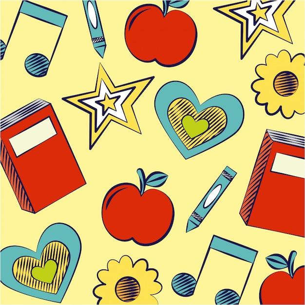 Ster, boeken, appel en muziek notities, terug naar school illustratie Gratis Vector