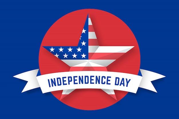 Ster met amerikaanse vlag vs en inscriptie independence day Premium Vector