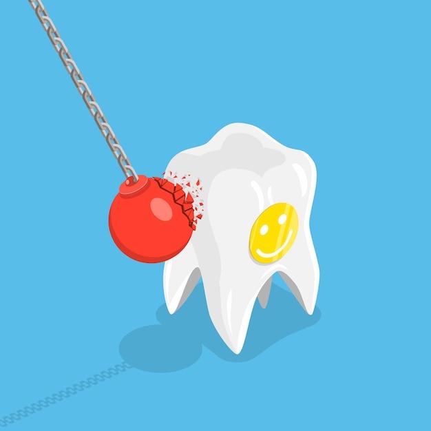 Sterk tanden plat isometrisch vectorconcept. Premium Vector