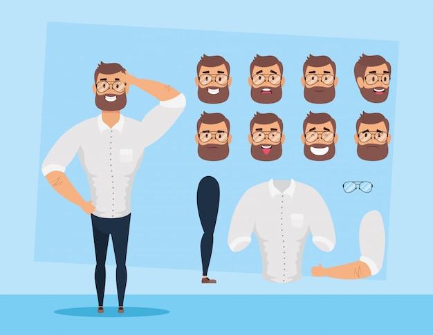 Sterke baard man met set gezichten karakter vector illustratie ontwerp Premium Vector