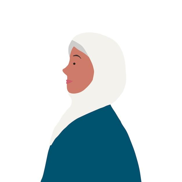 Sterke moslimvrouw in profielvector Gratis Vector