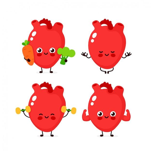 Sterke schattige gezonde gelukkig menselijk hart orgel tekenset. Premium Vector
