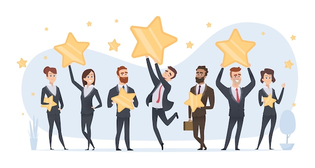 Sterren beoordelen. mensen die verschillende sterren van beoordelingen en recensies bedrijfsconcept in handen houden. sterren voor beoordelingen van afbeeldingen en feedback Premium Vector