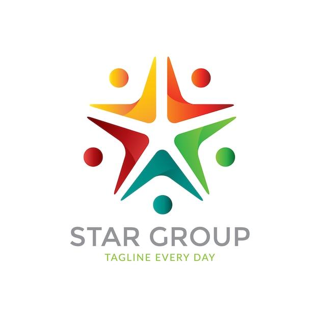 Sterren groep logo sjabloon Premium Vector