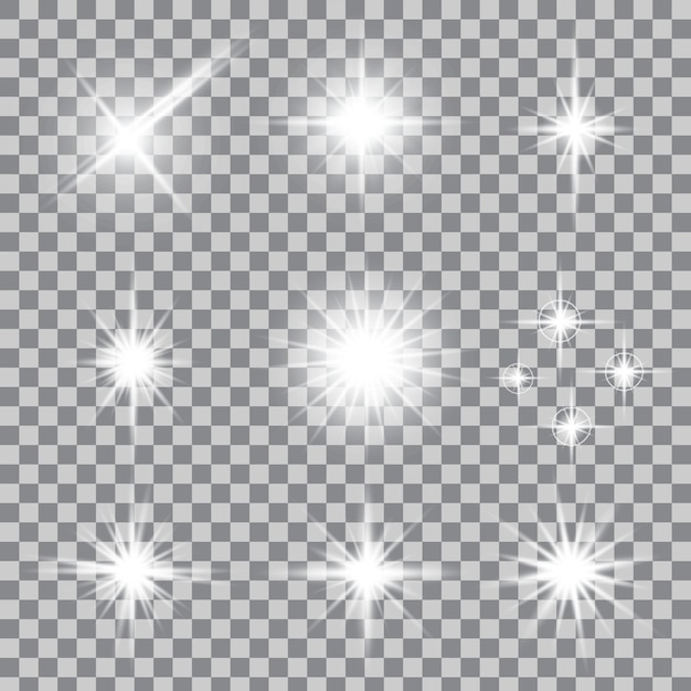 Sterren met een gloedlichteffect barsten met fonkelingen. Premium Vector