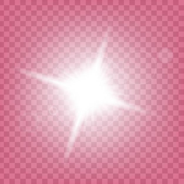 Sterren met gloei-licht barsten met fonkelingen. Premium Vector