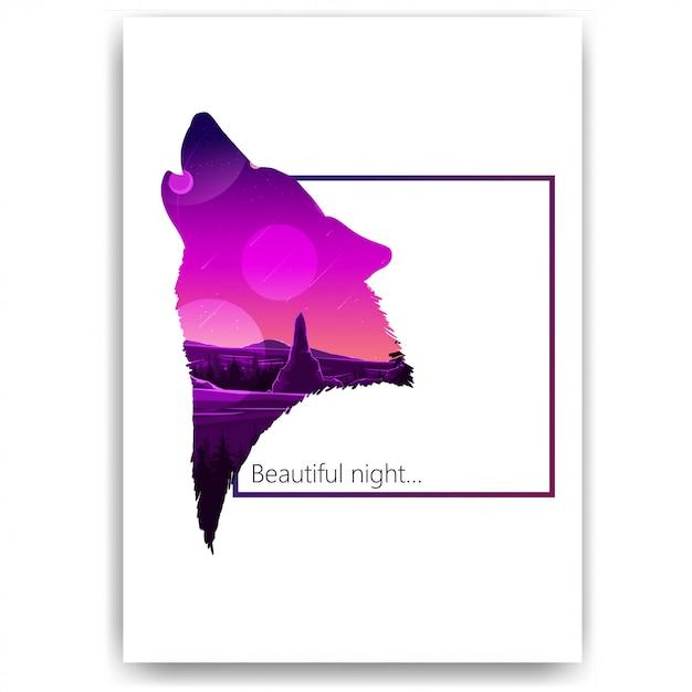 Sterrenhemel, bergen, landschap in de vorm van een silhouet van een wolf Premium Vector