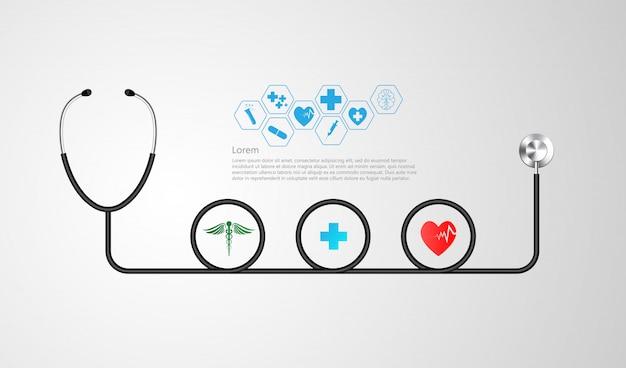 Stethoscoop en infographic. Premium Vector