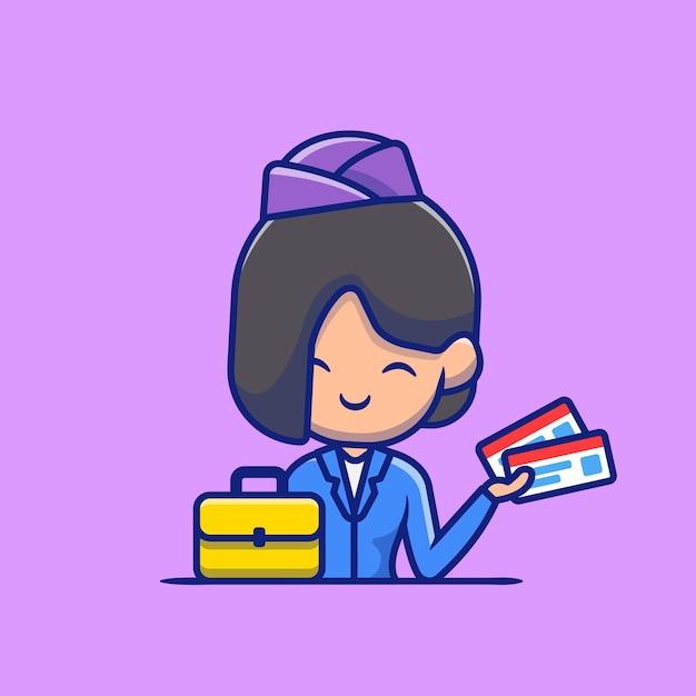 Stewardess met koffer en instapkaart cartoon pictogram illustratie. mensen beroep pictogram concept geïsoleerd. platte cartoon stijl Premium Vector