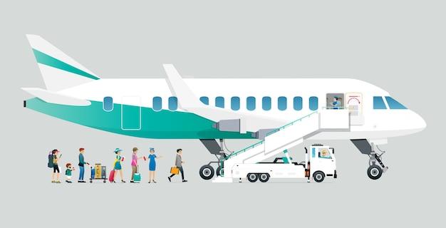 Stewardessen laten passagiers met een grijze achtergrond aan boord van het vliegtuig. Premium Vector